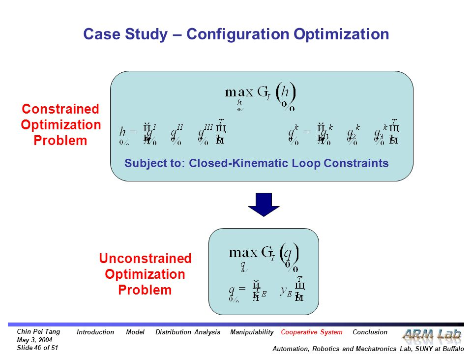 Chin Pei Tang May 3, 2004 Slide 46 of 51 Automation, Robotics and Mechatronics Lab, SUNY at Buffalo Case Study – Configuration Optimization Subject to: Closed-Kinematic Loop Constraints Constrained Optimization Problem Unconstrained Optimization Problem Introduction Model Distribution Analysis Manipulability Cooperative System Conclusion