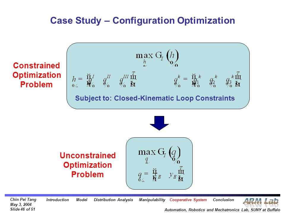 Chin Pei Tang May 3, 2004 Slide 46 of 51 Automation, Robotics and Mechatronics Lab, SUNY at Buffalo Case Study – Configuration Optimization Subject to