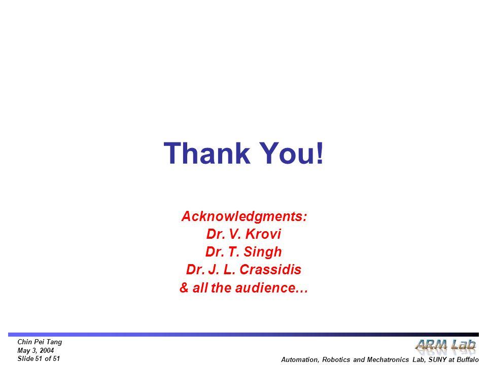Chin Pei Tang May 3, 2004 Slide 51 of 51 Automation, Robotics and Mechatronics Lab, SUNY at Buffalo Thank You! Acknowledgments: Dr. V. Krovi Dr. T. Si