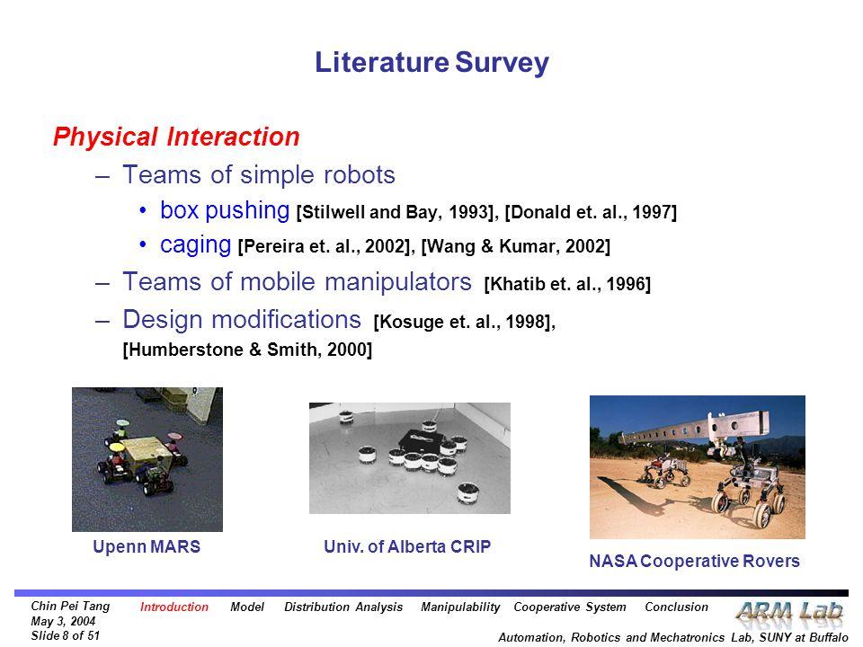 Chin Pei Tang May 3, 2004 Slide 8 of 51 Automation, Robotics and Mechatronics Lab, SUNY at Buffalo Literature Survey Physical Interaction –Teams of si