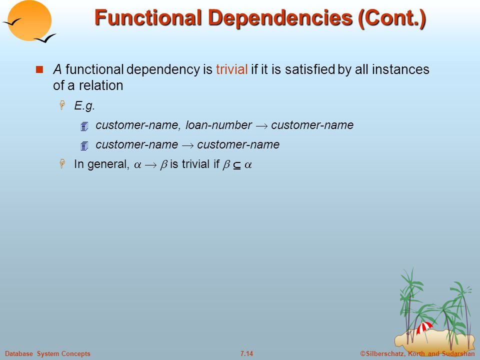 ©Silberschatz, Korth and Sudarshan7.14Database System Concepts Functional Dependencies (Cont.) A functional dependency is trivial if it is satisfied by all instances of a relation  E.g.