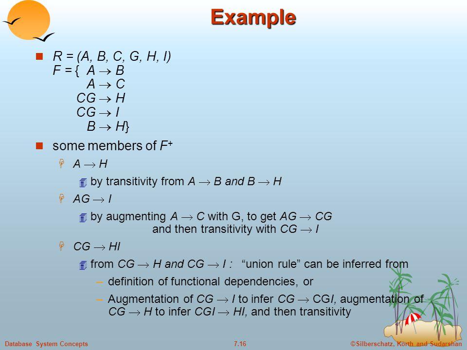 ©Silberschatz, Korth and Sudarshan7.16Database System ConceptsExample R = (A, B, C, G, H, I) F = { A  B A  C CG  H CG  I B  H} some members of F