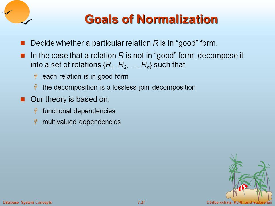 ©Silberschatz, Korth and Sudarshan7.27Database System Concepts Goals of Normalization Decide whether a particular relation R is in good form.