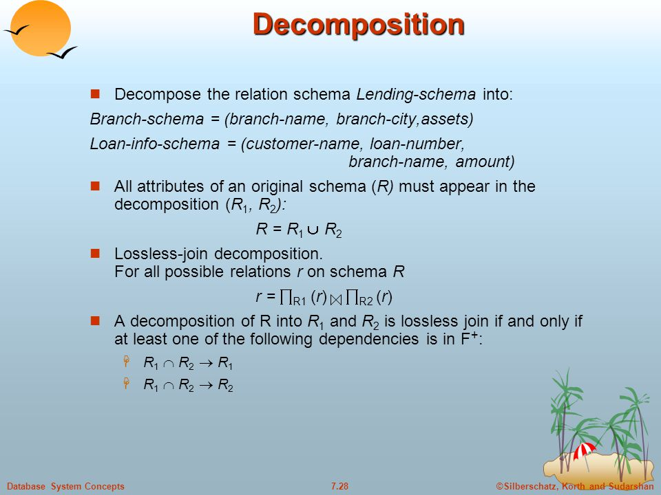 ©Silberschatz, Korth and Sudarshan7.28Database System ConceptsDecomposition Decompose the relation schema Lending-schema into: Branch-schema = (branch-name, branch-city,assets) Loan-info-schema = (customer-name, loan-number, branch-name, amount) All attributes of an original schema (R) must appear in the decomposition (R 1, R 2 ): R = R 1  R 2 Lossless-join decomposition.