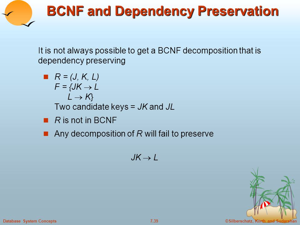 ©Silberschatz, Korth and Sudarshan7.39Database System Concepts BCNF and Dependency Preservation R = (J, K, L) F = {JK  L L  K} Two candidate keys = JK and JL R is not in BCNF Any decomposition of R will fail to preserve JK  L It is not always possible to get a BCNF decomposition that is dependency preserving