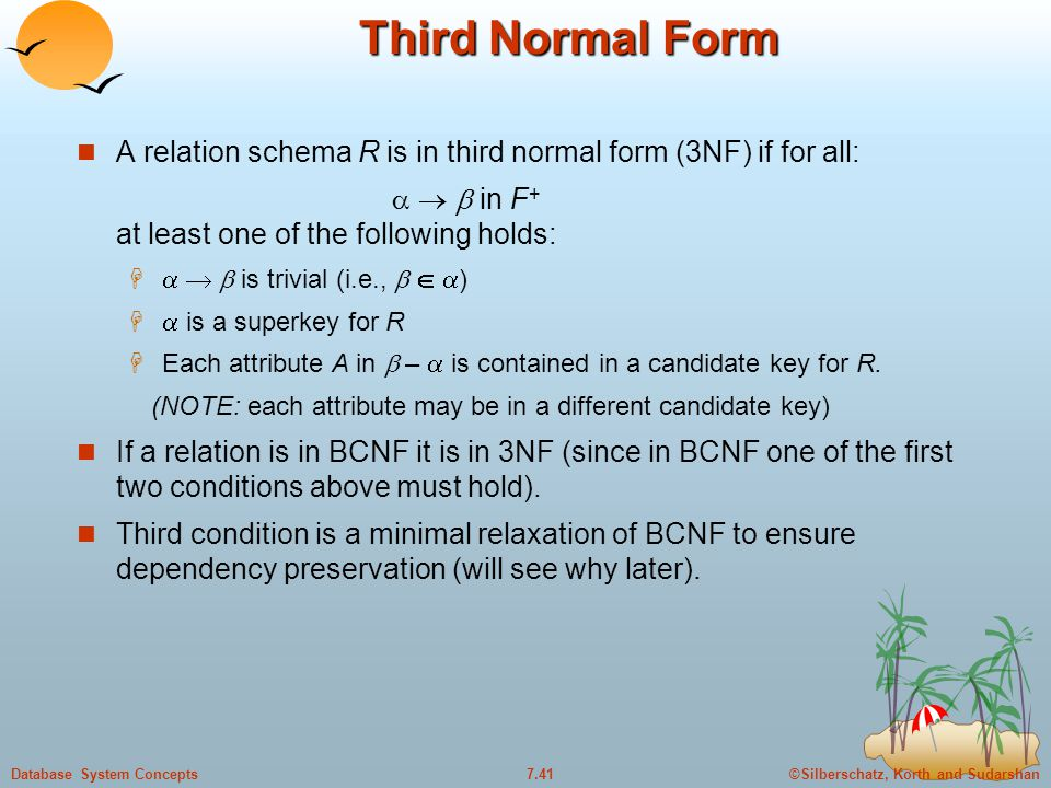 ©Silberschatz, Korth and Sudarshan7.41Database System Concepts Third Normal Form A relation schema R is in third normal form (3NF) if for all:    in F + at least one of the following holds:     is trivial (i.e.,    )   is a superkey for R  Each attribute A in  –  is contained in a candidate key for R.
