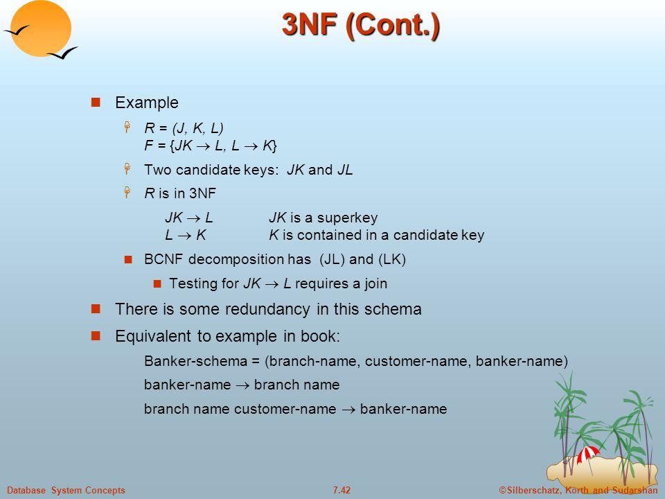 ©Silberschatz, Korth and Sudarshan7.42Database System Concepts 3NF (Cont.) Example  R = (J, K, L) F = {JK  L, L  K}  Two candidate keys: JK and JL