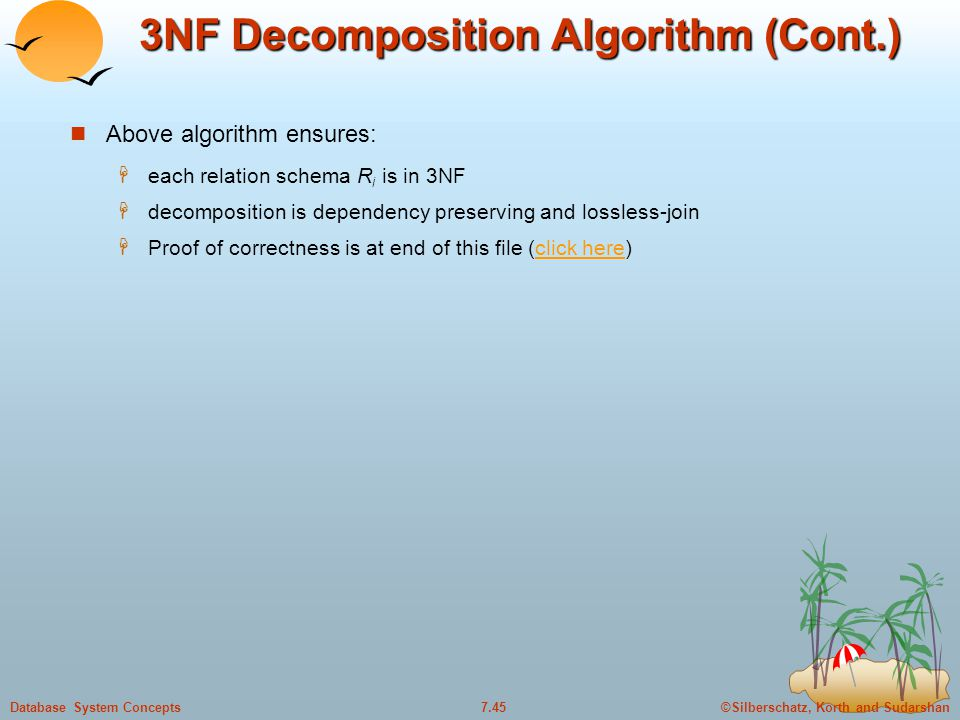 ©Silberschatz, Korth and Sudarshan7.45Database System Concepts 3NF Decomposition Algorithm (Cont.) Above algorithm ensures:  each relation schema R i is in 3NF  decomposition is dependency preserving and lossless-join  Proof of correctness is at end of this file (click here)click here