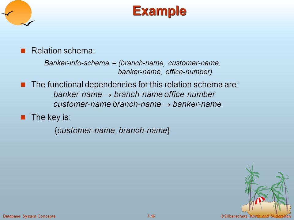 ©Silberschatz, Korth and Sudarshan7.46Database System ConceptsExample Relation schema: Banker-info-schema = (branch-name, customer-name, banker-name, office-number) The functional dependencies for this relation schema are: banker-name  branch-name office-number customer-name branch-name  banker-name The key is: {customer-name, branch-name}