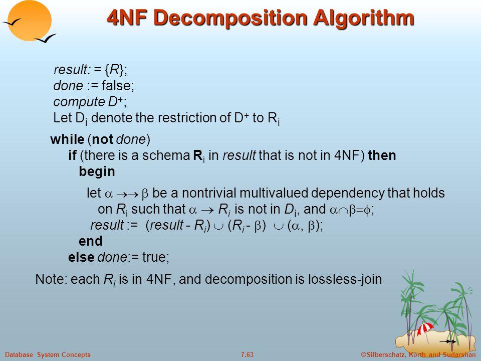 ©Silberschatz, Korth and Sudarshan7.63Database System Concepts 4NF Decomposition Algorithm result: = {R}; done := false; compute D + ; Let D i denote