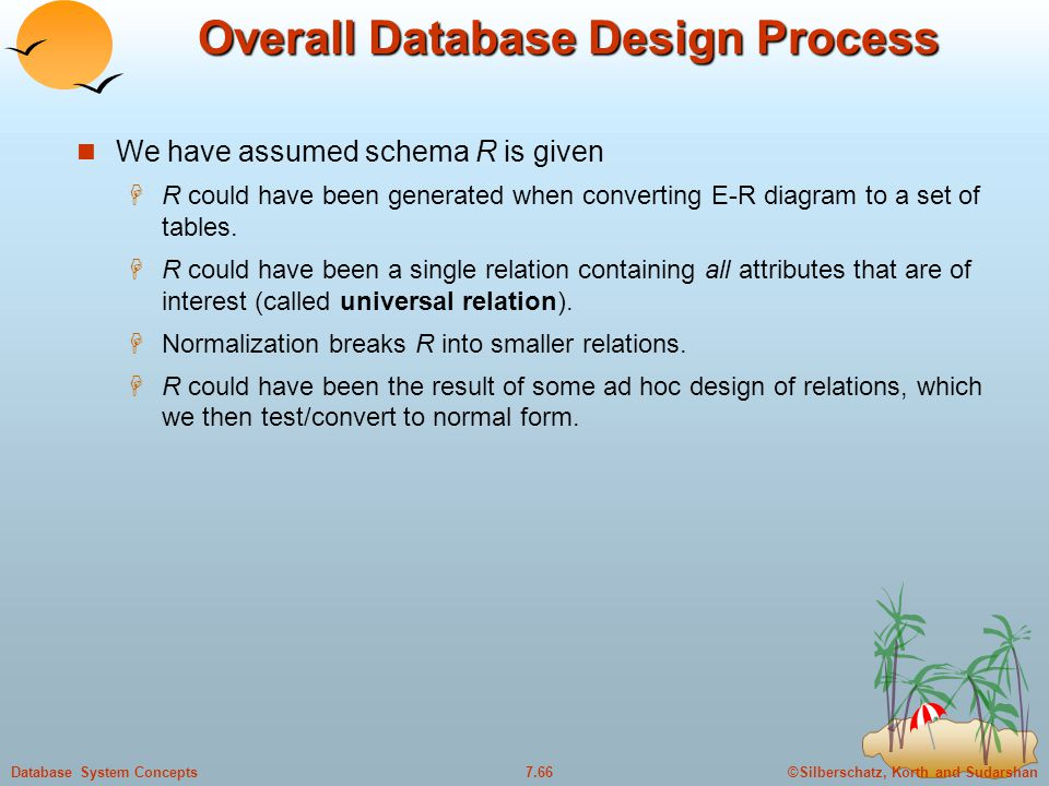 ©Silberschatz, Korth and Sudarshan7.66Database System Concepts Overall Database Design Process We have assumed schema R is given  R could have been g
