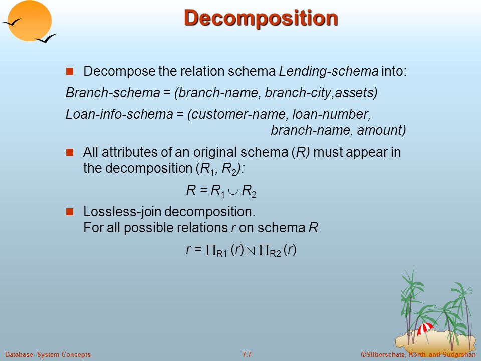 ©Silberschatz, Korth and Sudarshan7.7Database System ConceptsDecomposition Decompose the relation schema Lending-schema into: Branch-schema = (branch-name, branch-city,assets) Loan-info-schema = (customer-name, loan-number, branch-name, amount) All attributes of an original schema (R) must appear in the decomposition (R 1, R 2 ): R = R 1  R 2 Lossless-join decomposition.