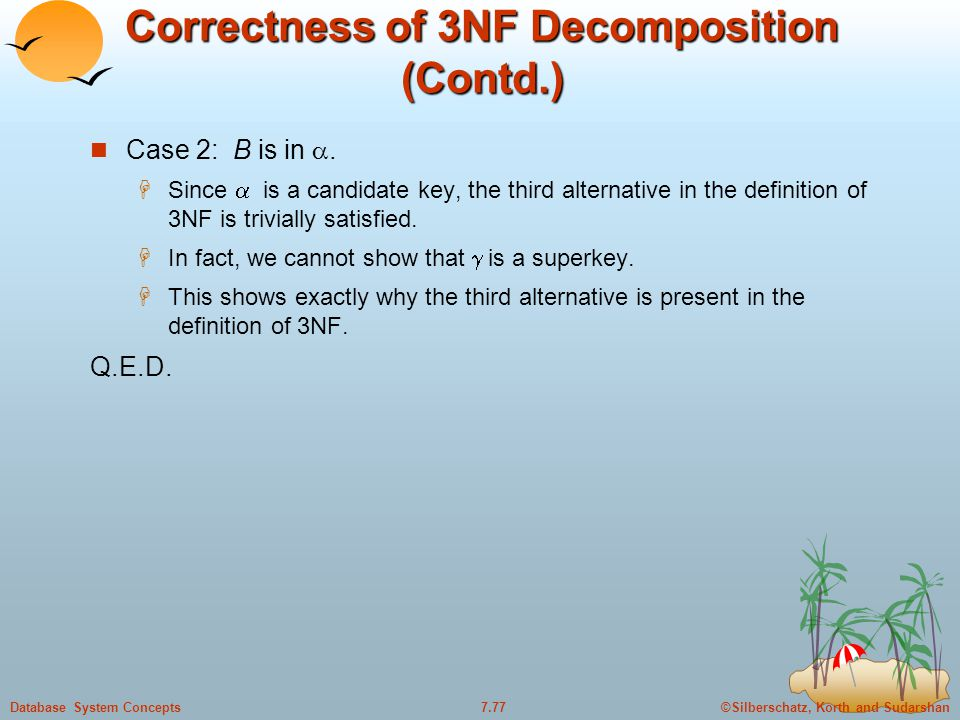 ©Silberschatz, Korth and Sudarshan7.77Database System Concepts Correctness of 3NF Decomposition (Contd.) Case 2: B is in .  Since  is a candidate k