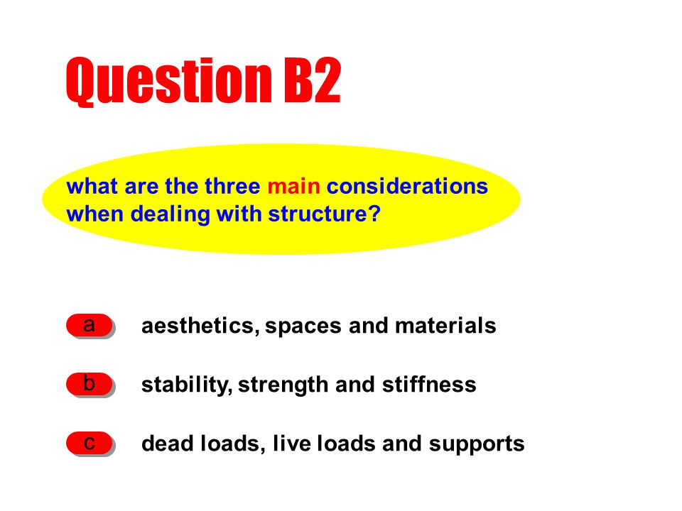 what are the three main considerations when dealing with structure.