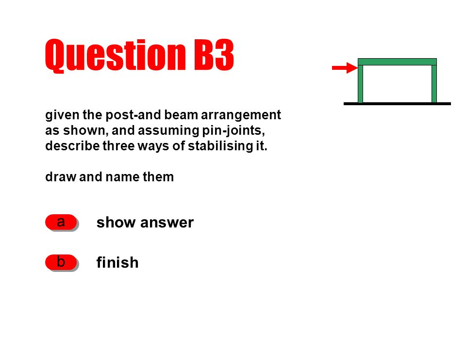 Question B3 show answer a finish b given the post-and beam arrangement as shown, and assuming pin-joints, describe three ways of stabilising it.