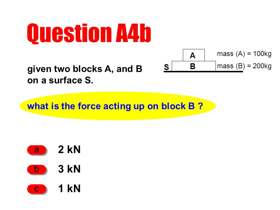 what is the force acting up on block B . given two blocks A, and B on a surface S.