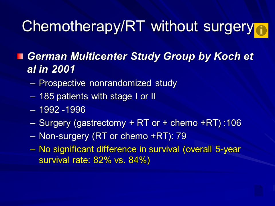 Chemotherapy/RT without surgery German Multicenter Study Group by Koch et al in 2001 –Prospective nonrandomized study –185 patients with stage I or II –1992 -1996 –Surgery (gastrectomy + RT or + chemo +RT) :106 –Non-surgery (RT or chemo +RT): 79 –No significant difference in survival (overall 5-year survival rate: 82% vs.