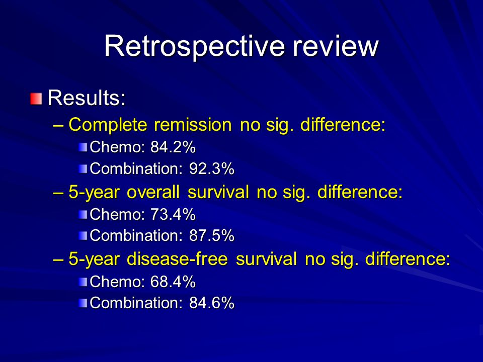 Retrospective review Results: –Complete remission no sig.