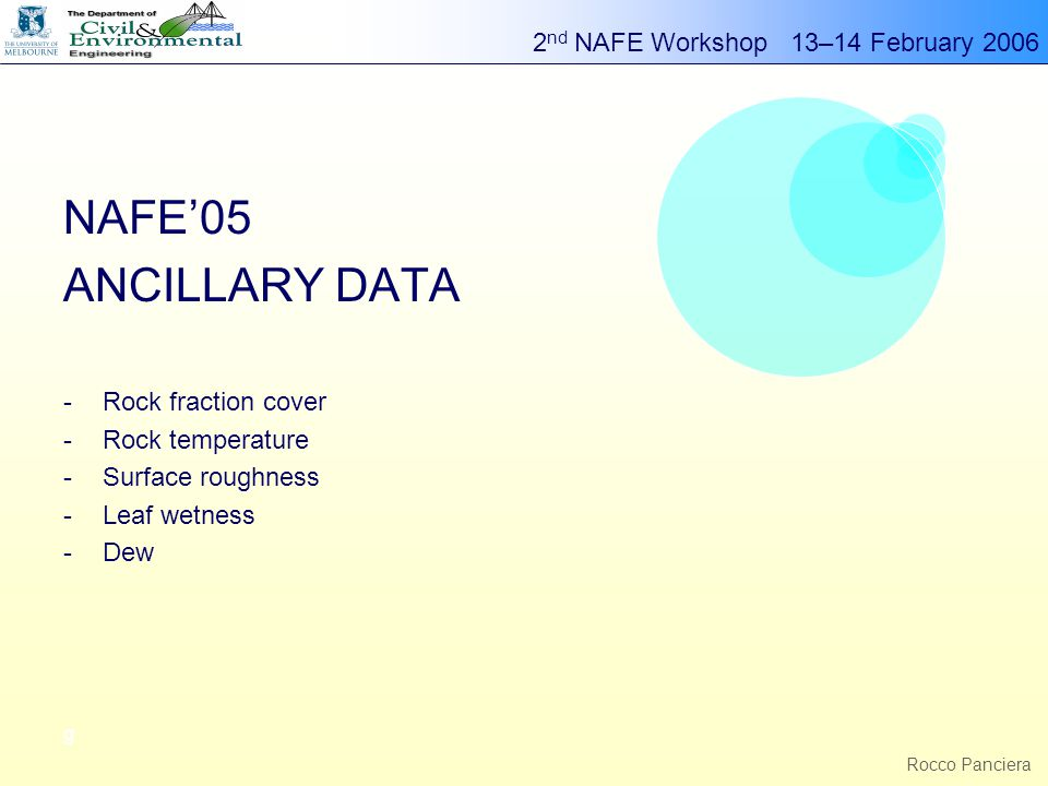 2 nd NAFE Workshop 13–14 February 2006 g Rocco Panciera NAFE'05 ANCILLARY DATA -Rock fraction cover -Rock temperature -Surface roughness -Leaf wetness -Dew