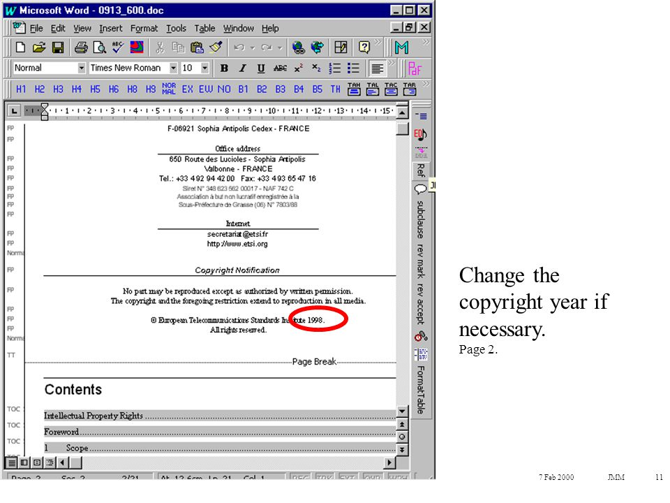 7 Feb 2000JMM11 Change the copyright year if necessary. Page 2.