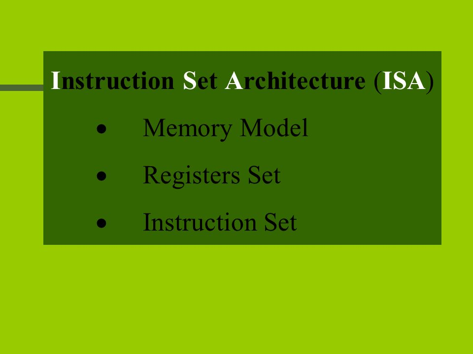 Instruction Set Architecture (ISA)  Memory Model  Registers Set  Instruction Set
