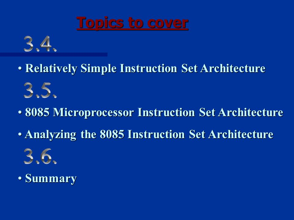 Topics to cover Relatively Simple Instruction Set Architecture Relatively Simple Instruction Set Architecture 8085 Microprocessor Instruction Set Architecture 8085 Microprocessor Instruction Set Architecture Analyzing the 8085 Instruction Set Architecture Analyzing the 8085 Instruction Set Architecture Summary Summary