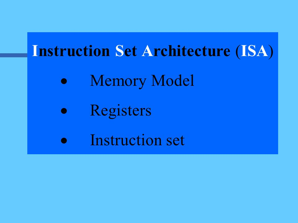 6.An ISA should specifies the addressing modes each instruction can use 7.An ISA should specifies the format for each instruction