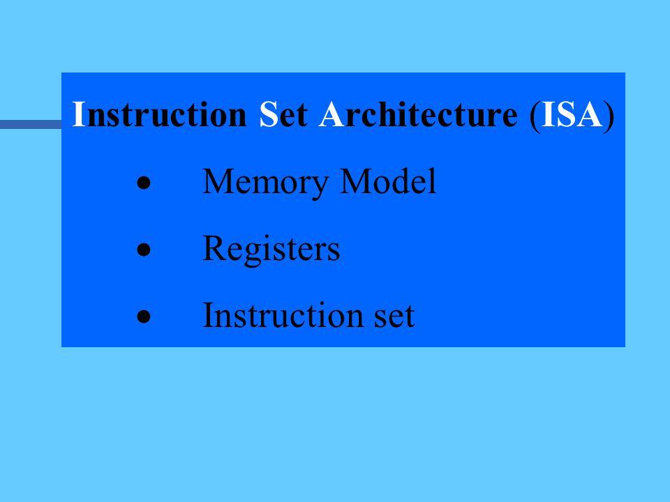 Instruction Set Architecture (ISA)  Memory Model  Registers  Instruction set