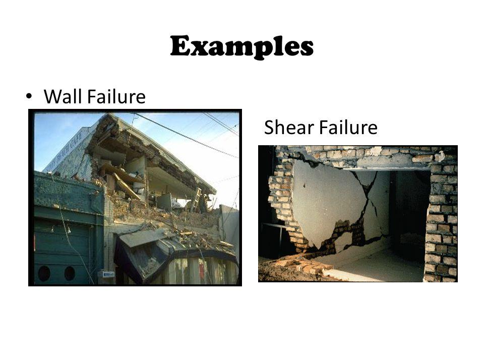 Examples Wall Failure Shear Failure