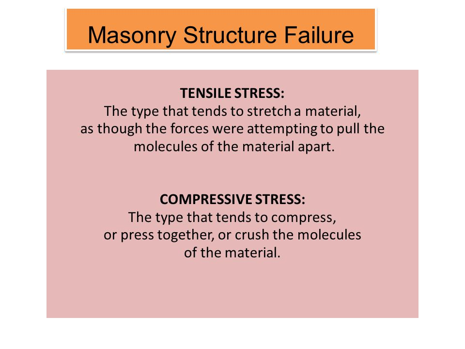 Learning Outcomes Identify and describe material response of modes primary failure due to: iv)Timber a) Structure failure ● Compressive ● Tensile ● Shear b) Performance failure ● Decay/Rotting