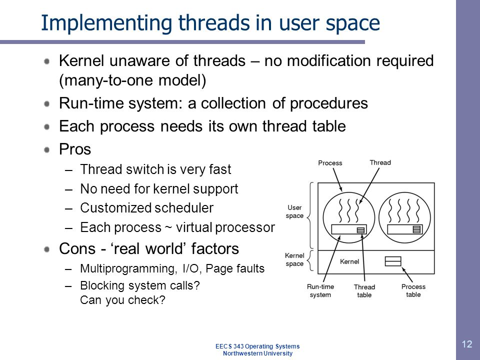 12 Implementing threads in user space Kernel unaware of threads – no modification required (many-to-one model) Run-time system: a collection of procedures Each process needs its own thread table Pros –Thread switch is very fast –No need for kernel support –Customized scheduler –Each process ~ virtual processor Cons - 'real world' factors –Multiprogramming, I/O, Page faults –Blocking system calls.