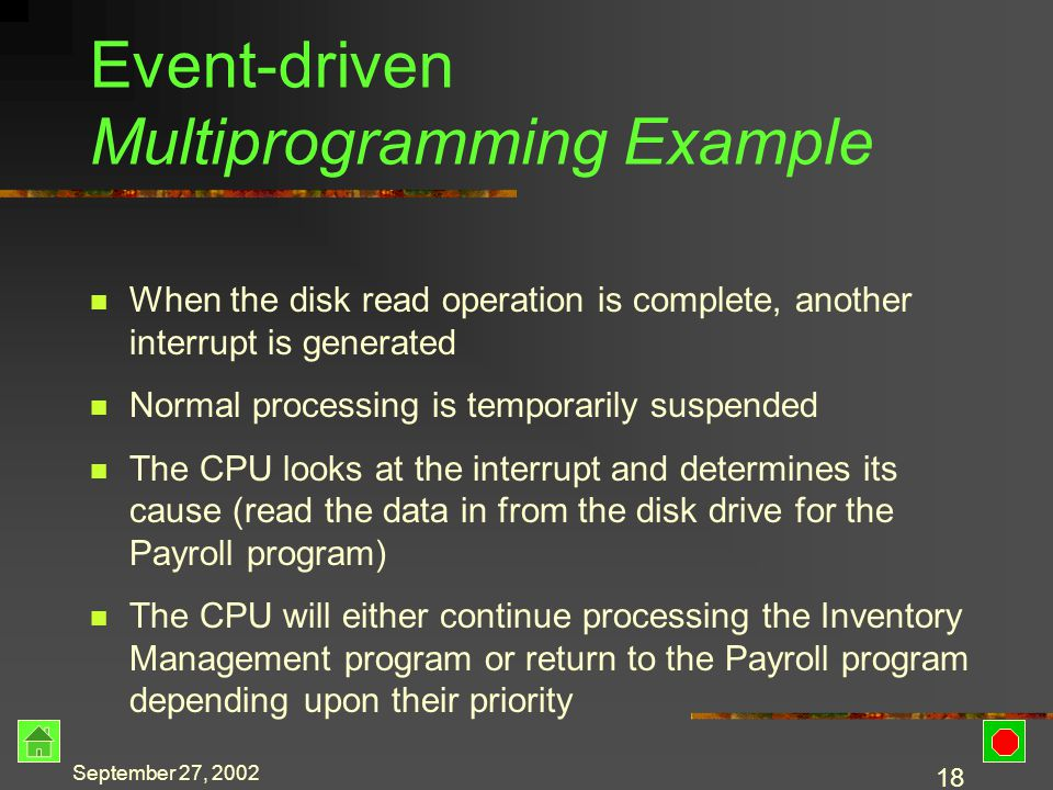 September 27, 2002 17 Event-driven Multiprogramming Example Two programs are running – Payroll and Inventory Management Payroll needs to read an employee record Payroll generates an interrupt to read from the disk Normal processing is temporarily suspended The CPU looks at the interrupt and initiates the read operation on the disk drive While waiting for the read to complete, the CPU begins processing the Inventory Management program