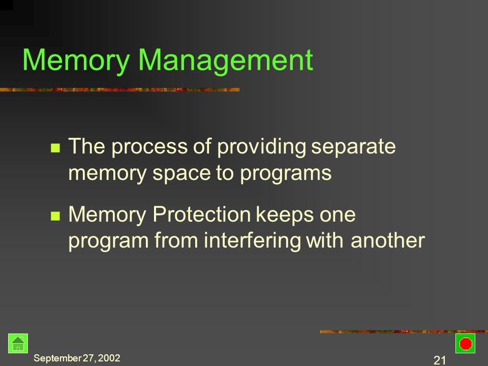 September 27, 2002 20 Sharing Memory Program must be in memory to be executed Problems Programs compete for space May have a very large program Memory space for each program must not overlap