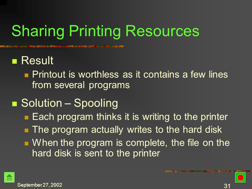 September 27, 2002 30 Sharing Printing Resources Print resources are shared between active programs Printouts are generated in pieces as the CPU gives each concurrent program some time Problem The current program may generate a few print lines The CPU moves to the next program The second program may generate a few print lines, etc.