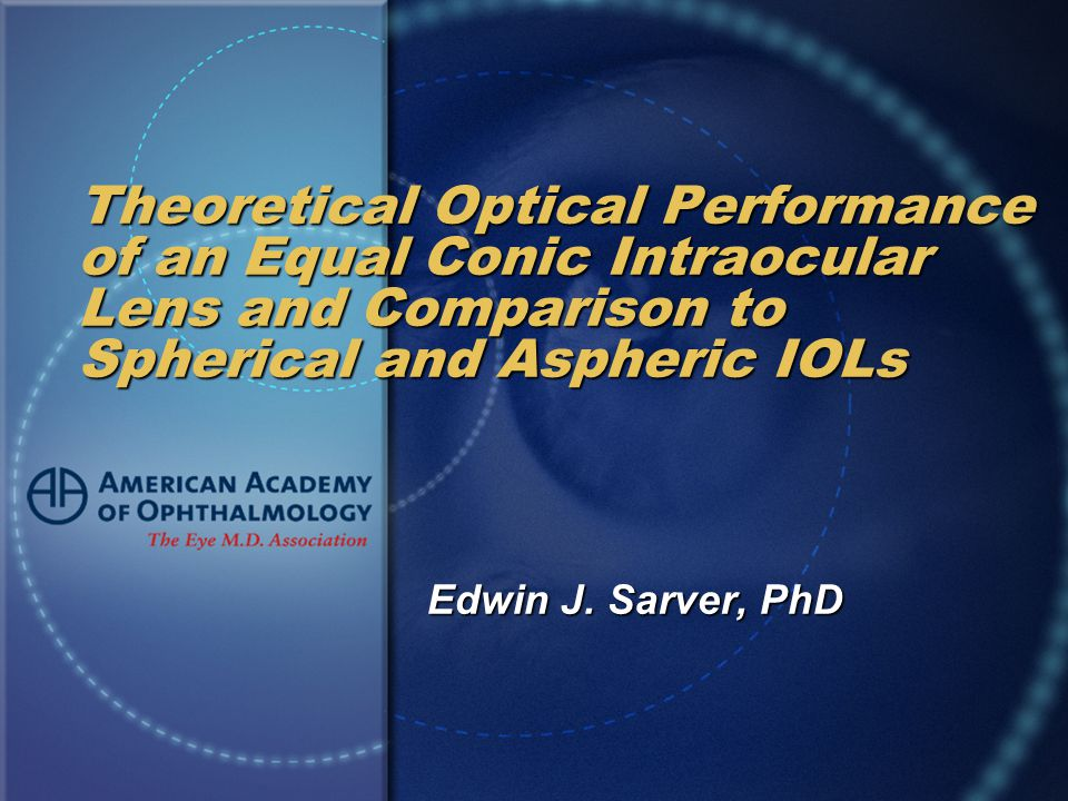 Theoretical Optical Performance of an Equal Conic Intraocular Lens and Comparison to Spherical and Aspheric IOLs Edwin J.