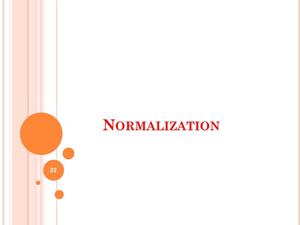 N ORMALIZATION 22