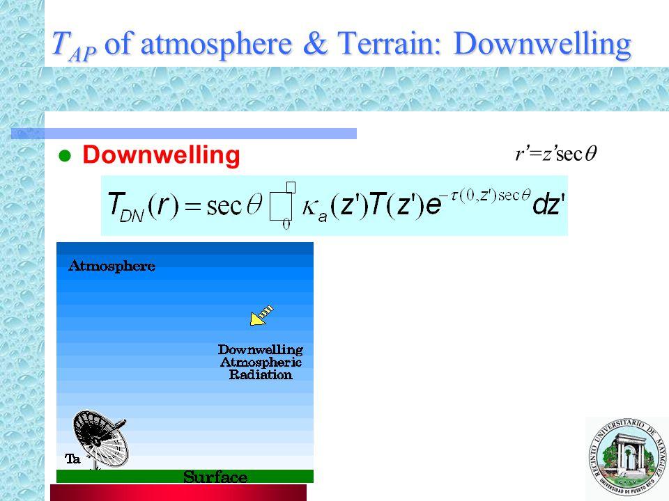 T AP of atmosphere & Terrain: Downwelling Downwelling r'=z'sec 