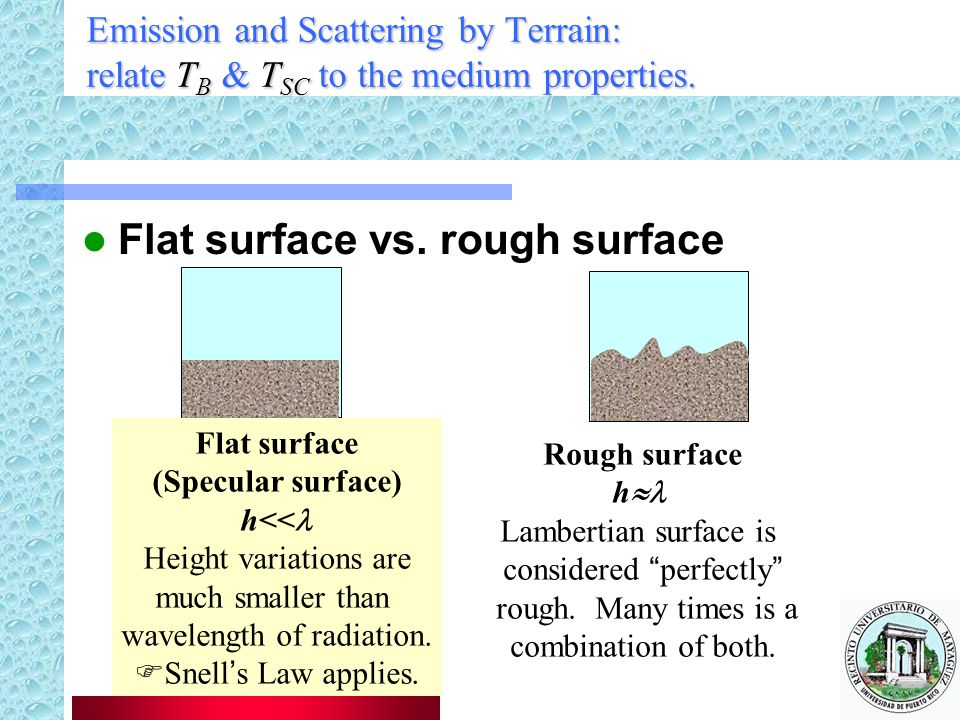 Emission and Scattering by Terrain: relate T B & T SC to the medium properties.