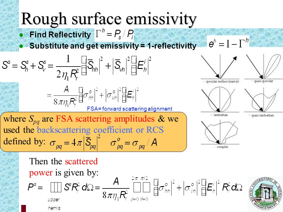 Rough surface emissivity Find Reflectivity Substitute and get emissivity = 1-reflectivitty where S pq are FSA scattering amplitudes & we used the backscattering coefficient or RCS defined by: Then the scattered power is given by: FSA= forward scattering alignment