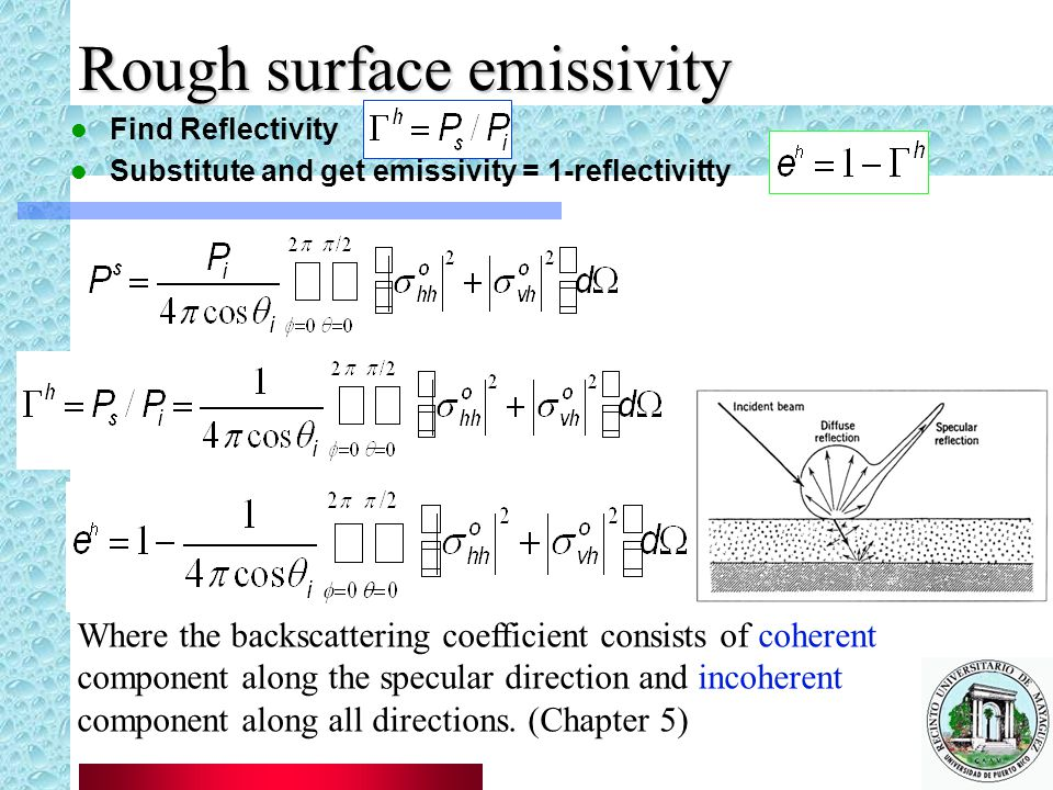 Rough surface emissivity Find Reflectivity Substitute and get emissivity = 1-reflectivitty Where the backscattering coefficient consists of coherent component along the specular direction and incoherent component along all directions.