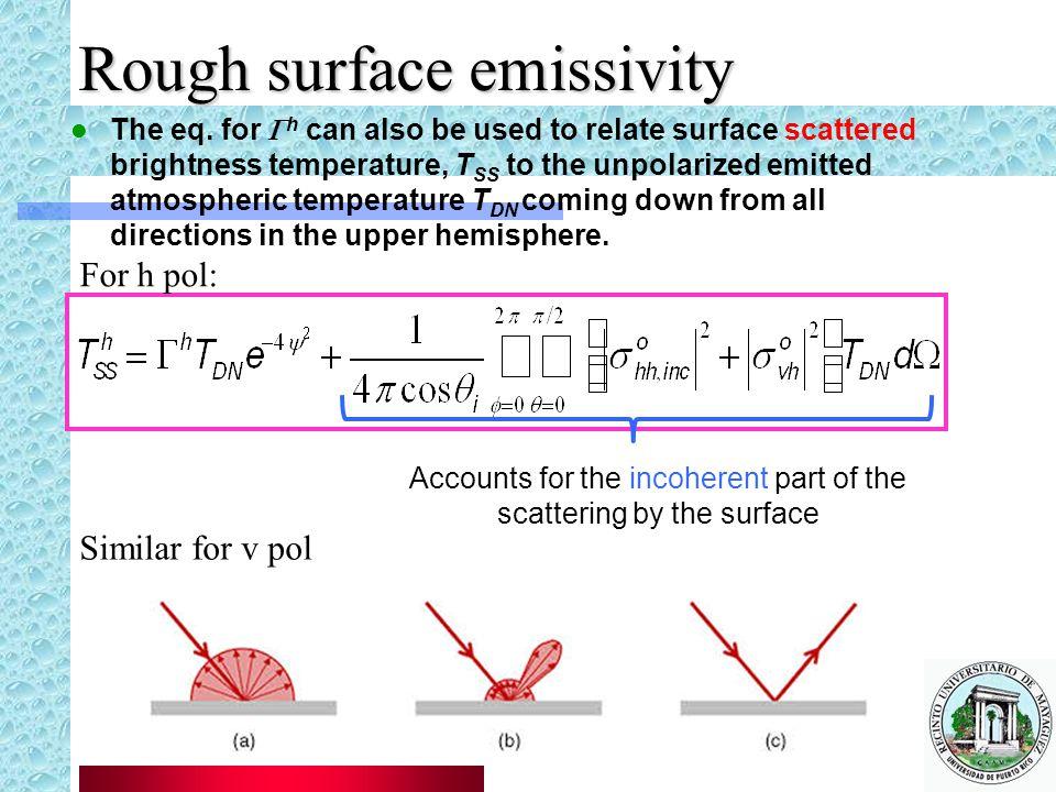 Rough surface emissivity The eq.