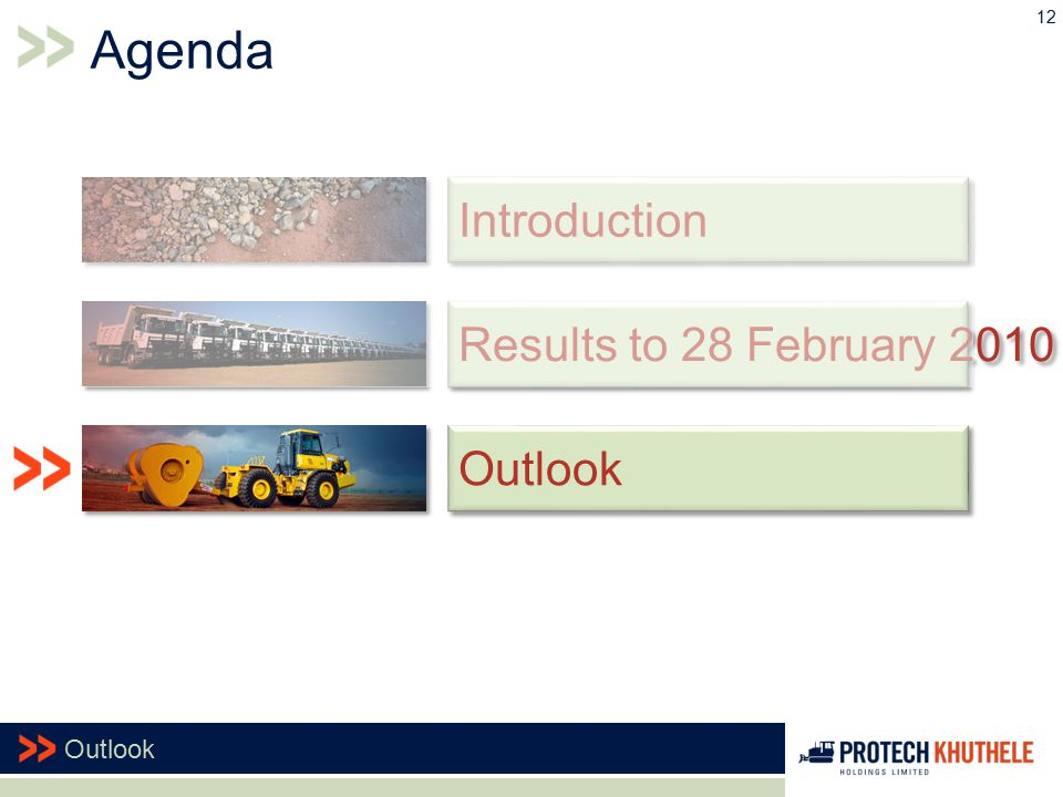 12 Outlook Results to 28 February 2010 Introduction Agenda