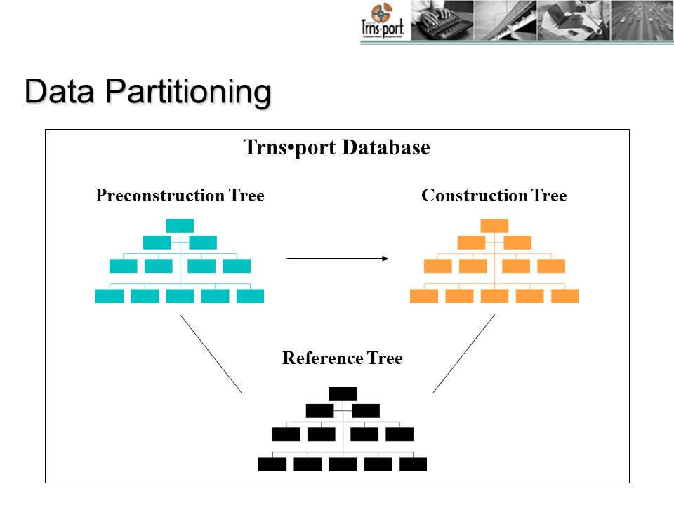 Data Partitioning Preconstruction Tree Construction Tree Reference Tree Trnsport Database