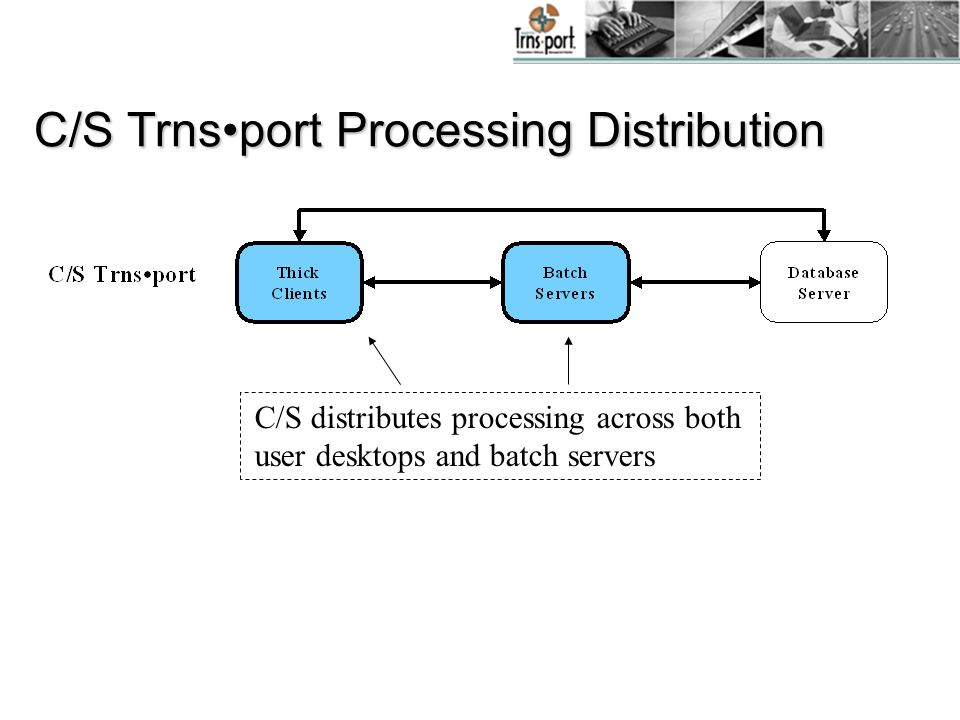 C/S Trnsport Processing Distribution C/S distributes processing across both user desktops and batch servers