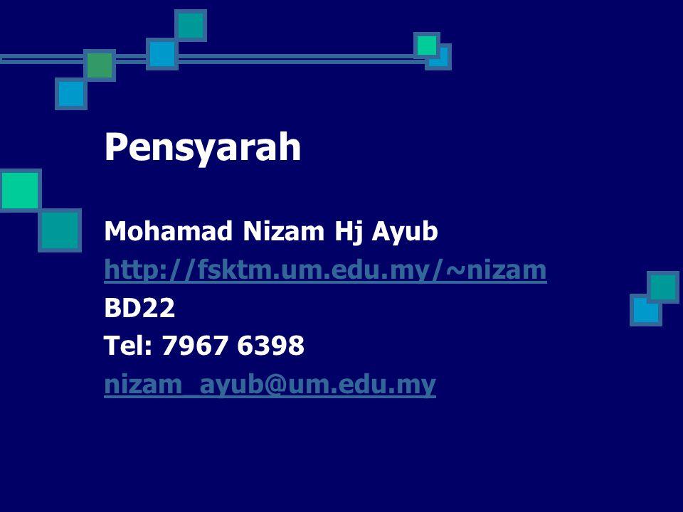 Pensyarah Mohamad Nizam Hj Ayub http://fsktm.um.edu.my/~nizam BD22 Tel: 7967 6398 nizam_ayub@um.edu.my