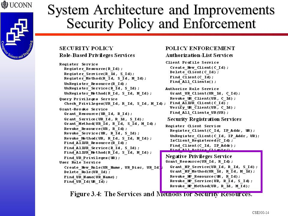 CSE System Architecture and Improvements Security Policy and Enforcement
