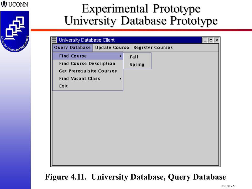 CSE300-29 Experimental Prototype University Database Prototype Figure 4.11.