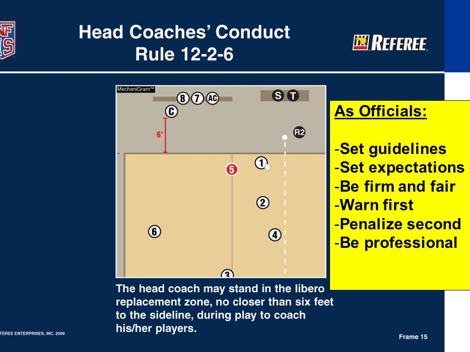 As Officials: -Set guidelines -Set expectations -Be firm and fair -Warn first -Penalize second -Be professional