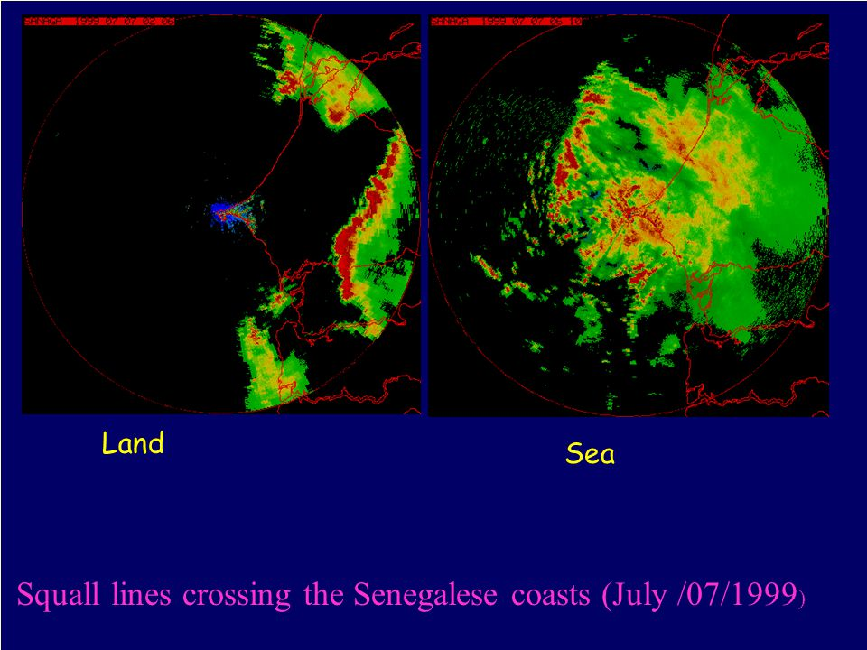 27 Distribution of cumulative rainfall at Dakar in annual mean ( 1996-1998) - Southwest- northeast orientation of the isohyets as seen in radar and raingauge data