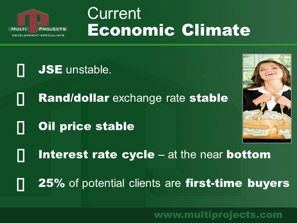 www.multiprojects.com JSE unstable. Rand/dollar exchange rate stable Current Economic Climate Oil price stable Interest rate cycle – at the near botto
